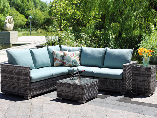Outdoor garden luxury Rattan furniture wicker conversation corner sectional sofa