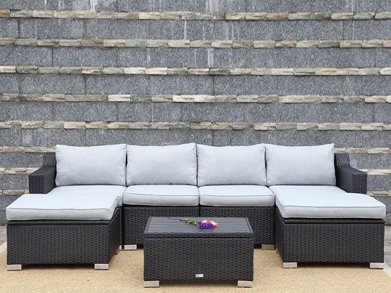 High end powder coated steel sofa outdoor garden set with aluminum frame