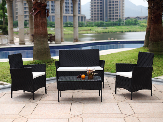 Rattan Simple design outdoor furniture Basic Item 4 piece Wicker Sofa Set