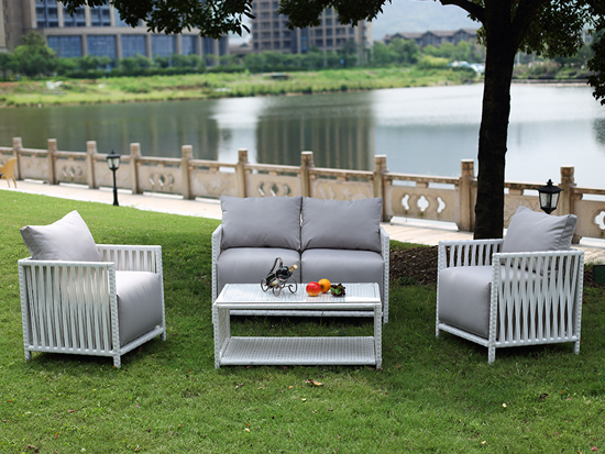 White Rattan Outdoor Sofa Set
