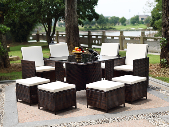 Wholesale Outdoor Highback Chairs and Ottomans Square DiningTable
