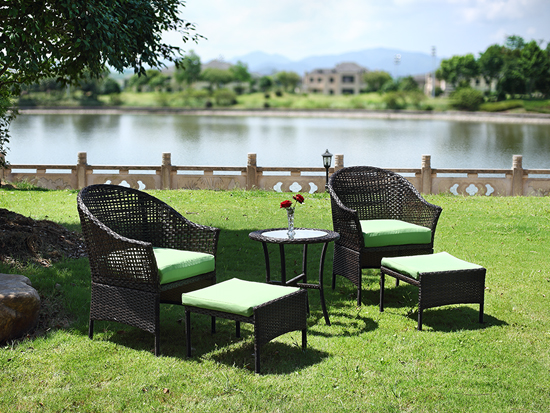 Grass green color garden chair set for leisure use