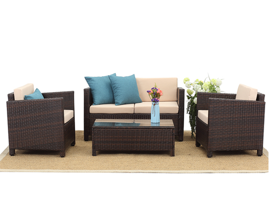 2020 Domestic 4 PCS PE Rattan Outdoor Living Sofa Set Best Seller