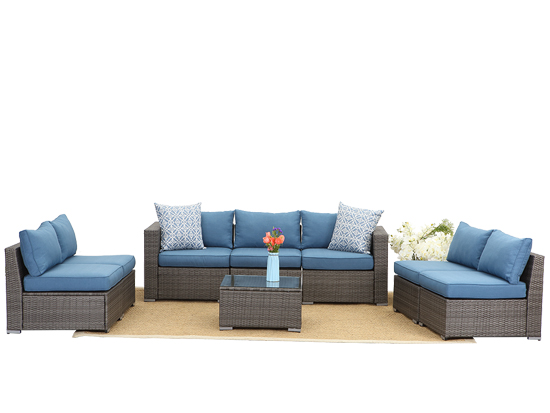 Seven  Seat Wicker Garden Usage Sectional Sofa and Table Set