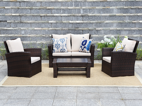 UK/USA TOP SELLING 4 PCS RATTAN SOFA SET
