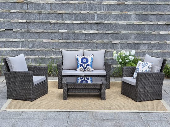Top selling in uk /usa market 4 pieces rattan outdoor furniture luxury patio furniture