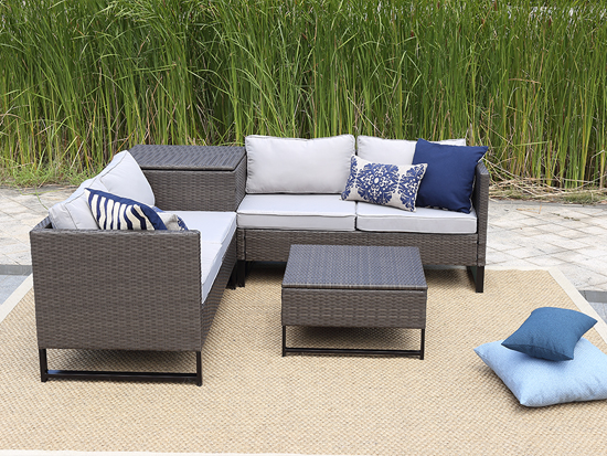 Patio sofa with storage side table