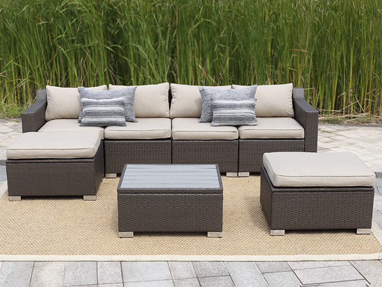 7PCS RATTAN GARDEN SET WITH PLASTIC WOOD TABLE