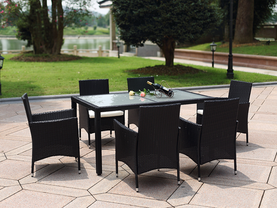 6pcs KD rattan dining chairs and table tempered glass top /HB21.9206