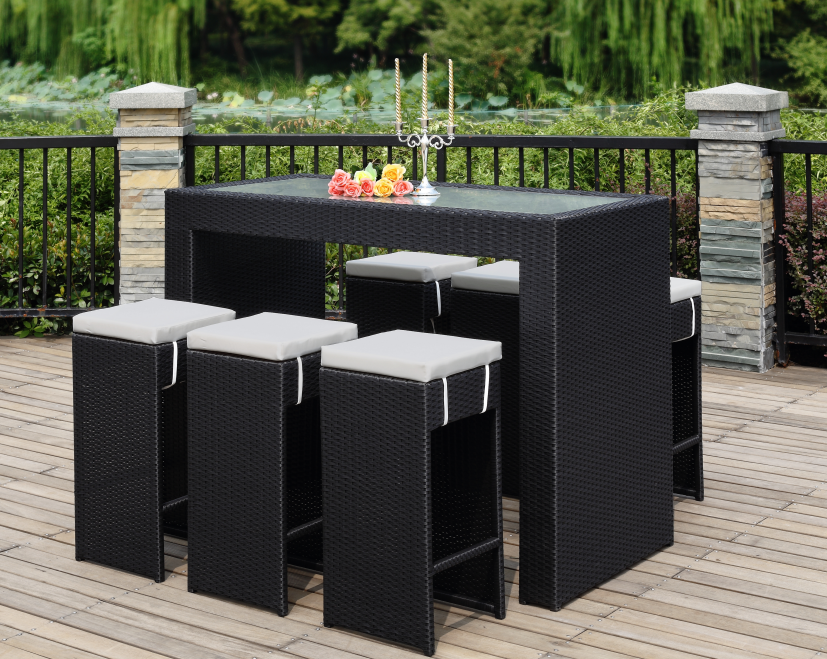 6 Wicker Material High Bar Outdoor Furniture Plastic Wood Table Set/HB21.9333
