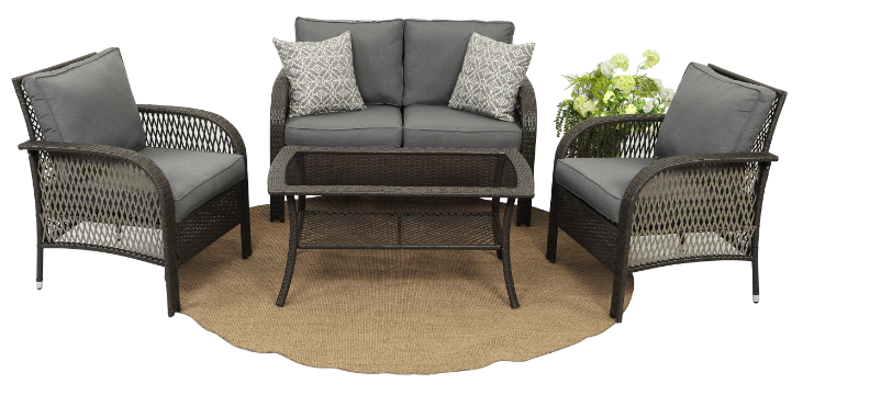 4 Piece Rattan Seating Group patio furniture cheap lovesets sets gardensets with Cushions