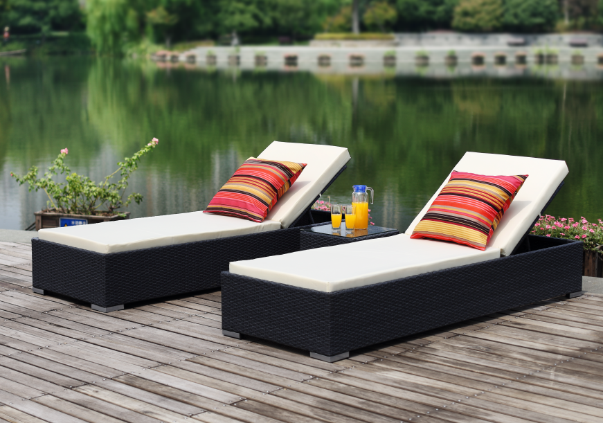 All-weather Double-Seat Beach or Poolside Rattan Sunbed Outdoor Specific Usage Furniture
